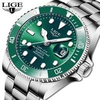 lige top brand luxury fashion diver watch men 30atm waterproof date clock sport watches mens quartz wristwatch relogio masculino