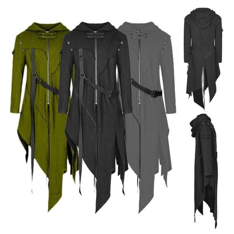 2020 homens gótico hip hop trench coat vintage steampunk com capuz manto design irregular longo cardigan rua jaquetas do punk