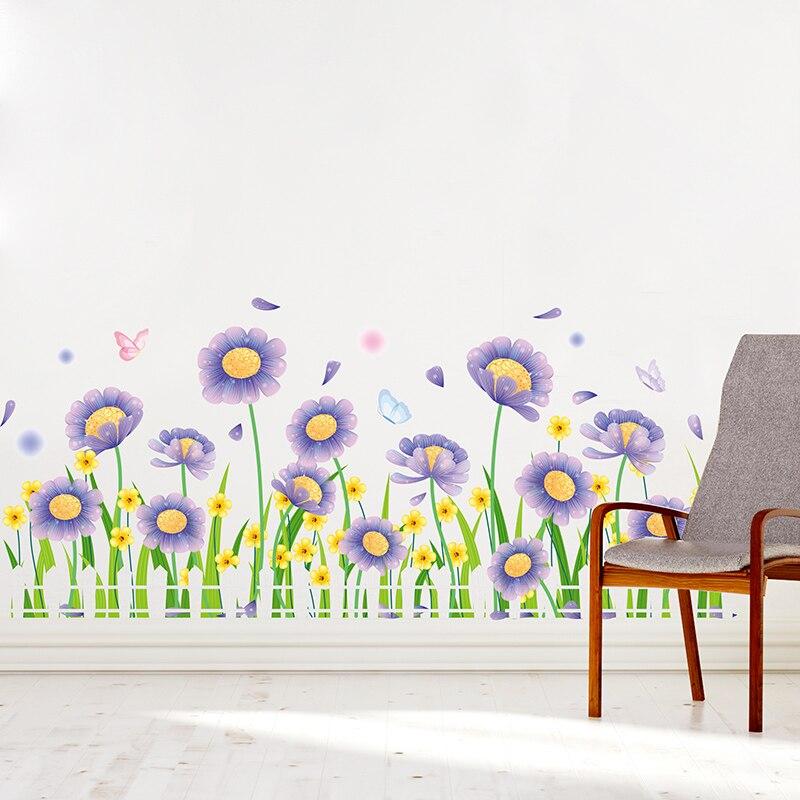 [Shijuekongjian] pegatinas de pared de flores de margaritas, adhesivos de pared de plantas DIY de Material de PVC para decoración de hogar, sala, dormitorio