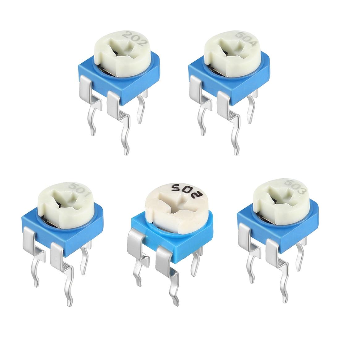 Uxcell 20 pcs resistores variáveis superior ajustável horizontal cermet potenciômetro 2 k 5 k 50 k 500 k ohm cermet e filme de carbono