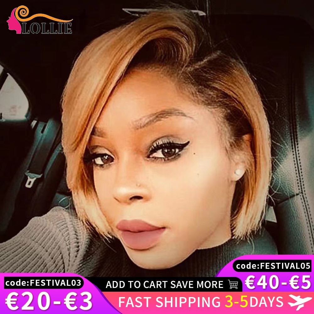 Short Pixie Cut Human Hair Wig Bob Straight Wig Part Lace Human Hair Wig Ombre Blonde Color Side Lace Front Wigs For Black Women