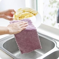 5pcs micro fiber cleaning cloth double layer absorbent kitchen dish cloth non stick oil cleaning wiping towel home cleaning tool