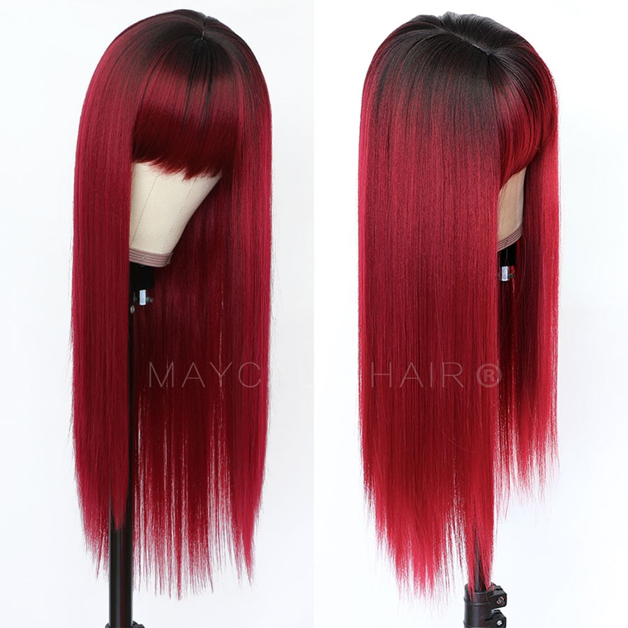 Maycaur Long Straight Synthetic Hair Wig With Bangs Blonde Black Red Grey Hair Blonde Wigs for Women