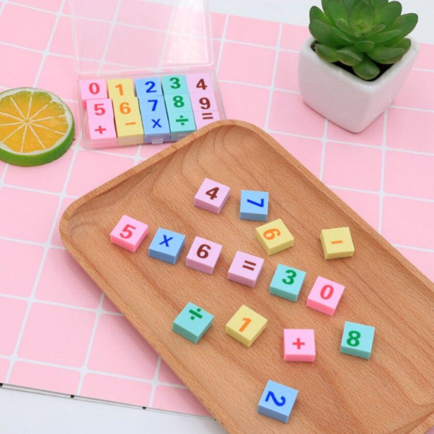 12 set/lote nuevo Kawaii número Digital en caja Mini goma borradores aprender número herramienta Papelería para la escuela y la Oficina al por mayor