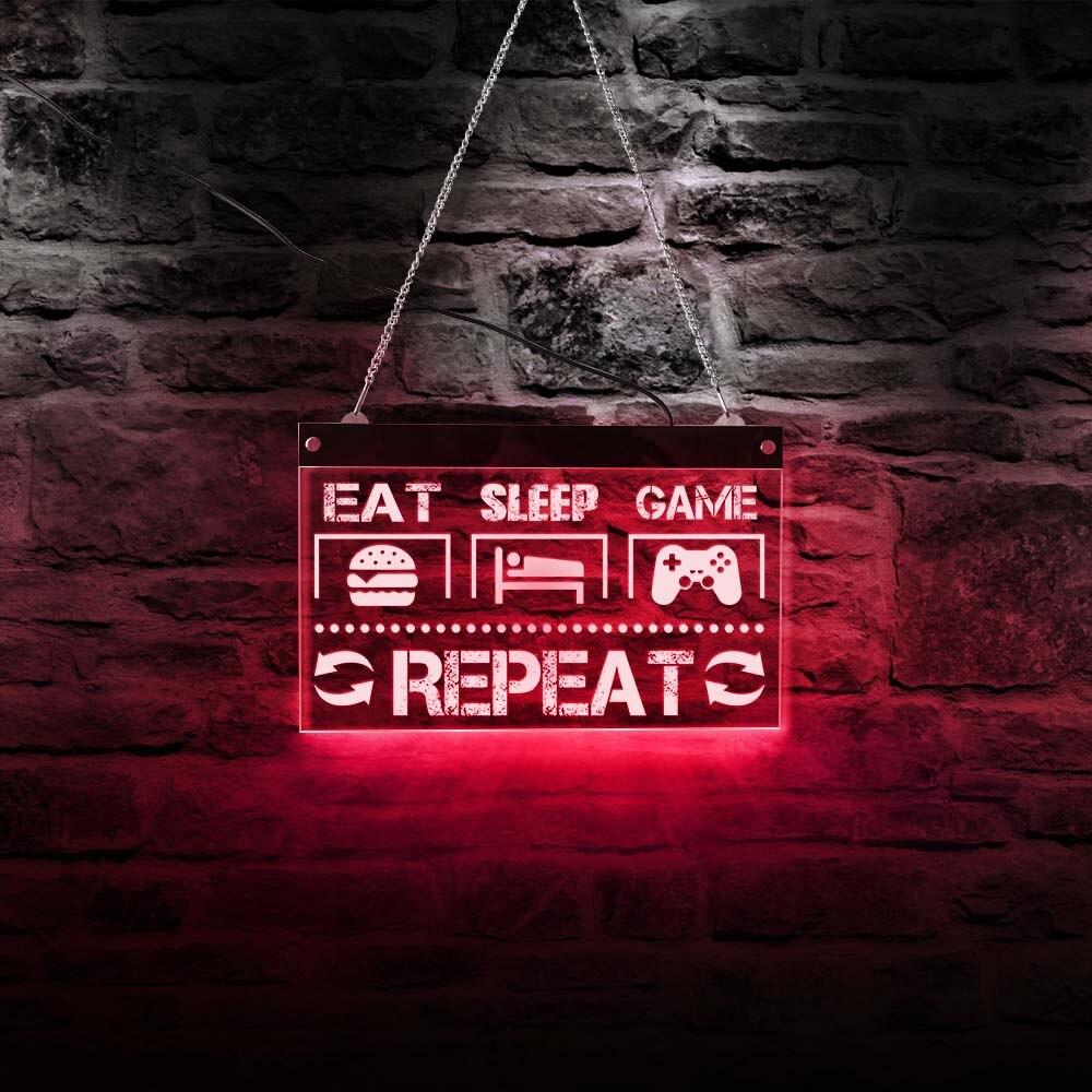 Eat Sleep Game-مصباح حائط LED نيون للرجال ، تصميم مرحة ، إضاءة زخرفية ، إضاءة غرفة ألعاب الفيديو ، لافتة كهربائية