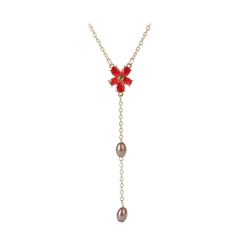 Joyería HP Hermione flor roja gota COLLAR COLGANTE lindo regalo para niñas