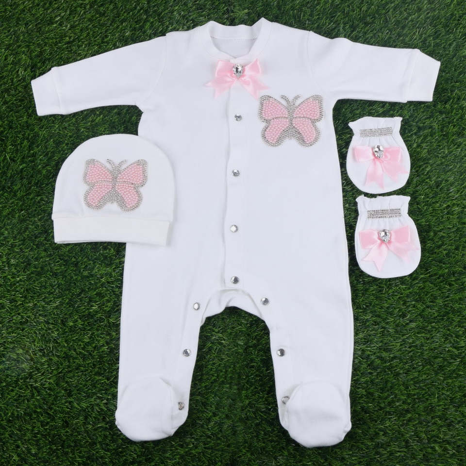 new fashion  butterfly  pattern glitter crystal style  0-3 months baby girl newborn footies set clothes gift rompers bodysuits