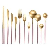 pink gold dinnerware tea coffee spoon dessert fork kitchen knives set chopstick dinner set silverware tableware set dropshipping