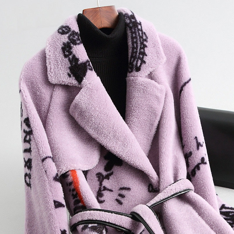Réel Manteau de fourrure 100% laine veste coréenne imprimer automne hiver Manteau femmes vêtements 2020 mouton cisaillement Manteau Femme HQ18-OX011CYY1774
