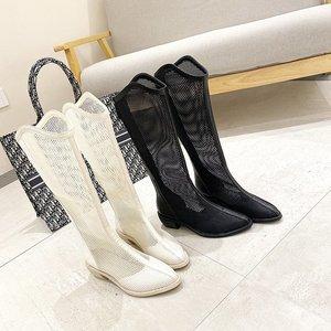 Крутые сетчатые длинные туфли, новые ботинки Baotou, ботинки на толстом каблуке, с застежкой-молнией сзади, Крутые ботинки, сандалии x757