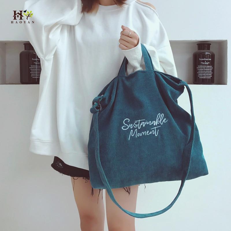Ladies Corduroy Canvas Tote Bag Messenger Bag Fashion Student Messenger Bag Ladies Retro Shoulder Bag Shopper Handbag