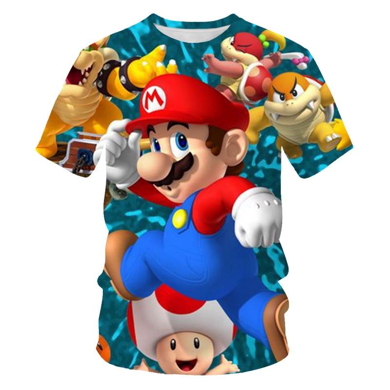 2019 Verano Divertido 3D impreso Super Mario niños Camiseta de manga corta niños dibujos animados Niño/niña camisetas ropa de disfraz niños camisetas