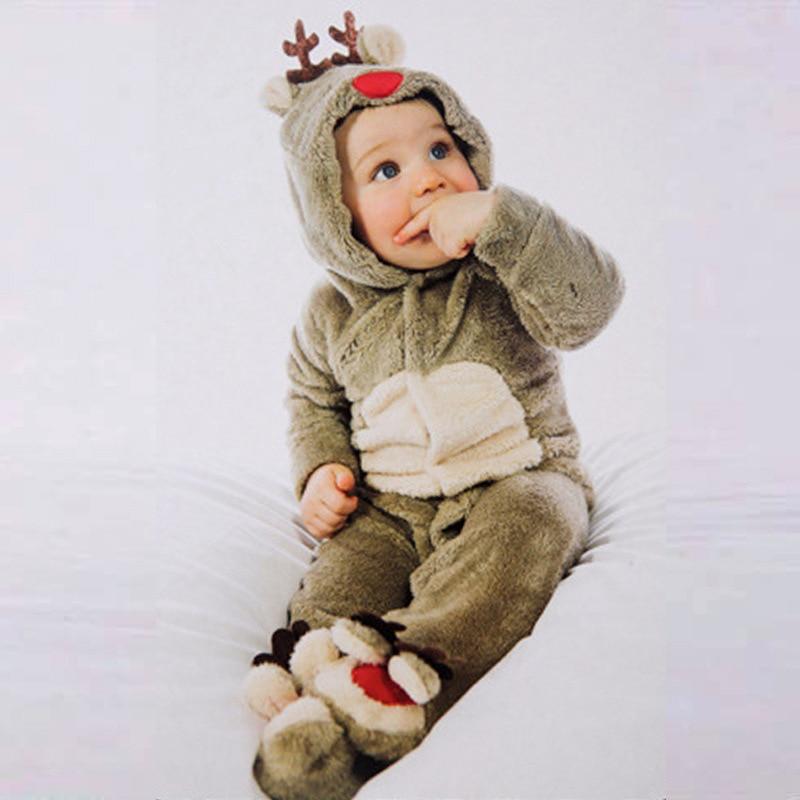 Weihnachten Cartoon Rentier Strampler Warme plüsch Neugeborenen Baby Kleidung Halloween Hohe Qualität Komfortable Kleinkind Kinder Kleidung 3-18M