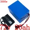 72V battery pack 72V electric bicycle battery72V 2000W 3000W electric scooter battery 72V 20AH lithium battery pack with charger