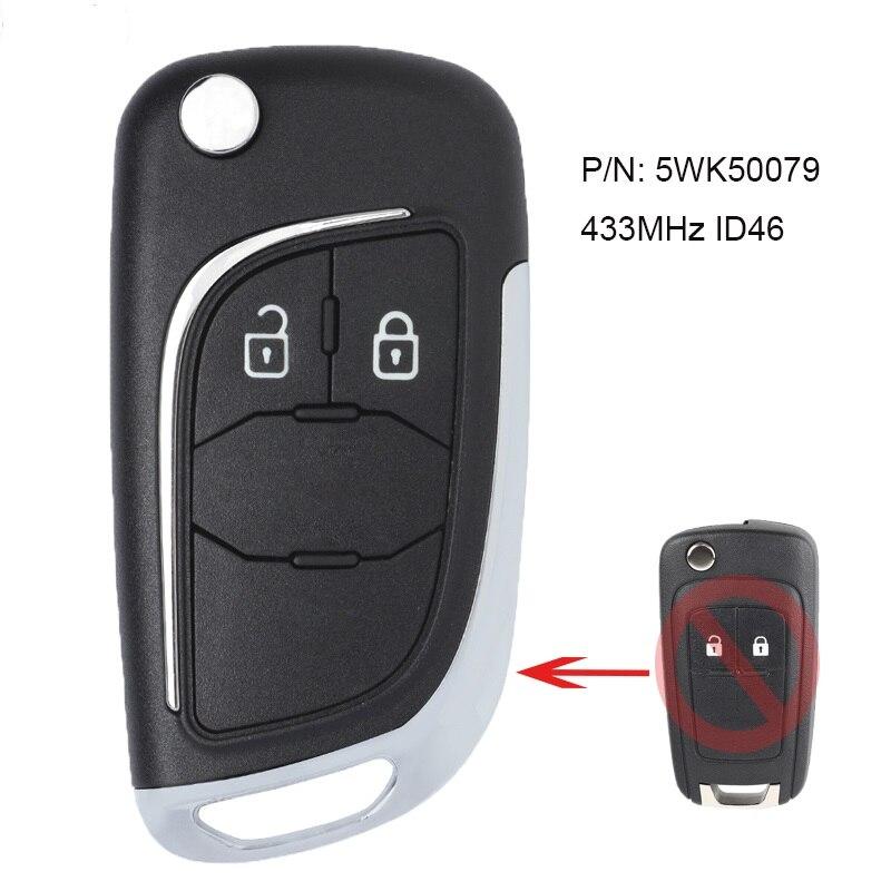 KEYECU модифицированный пульт дистанционного управления с 2 кнопками, брелок 433 МГц ID46 для Chevrolet Aveo Cruze Orlando P/N 5WK50079