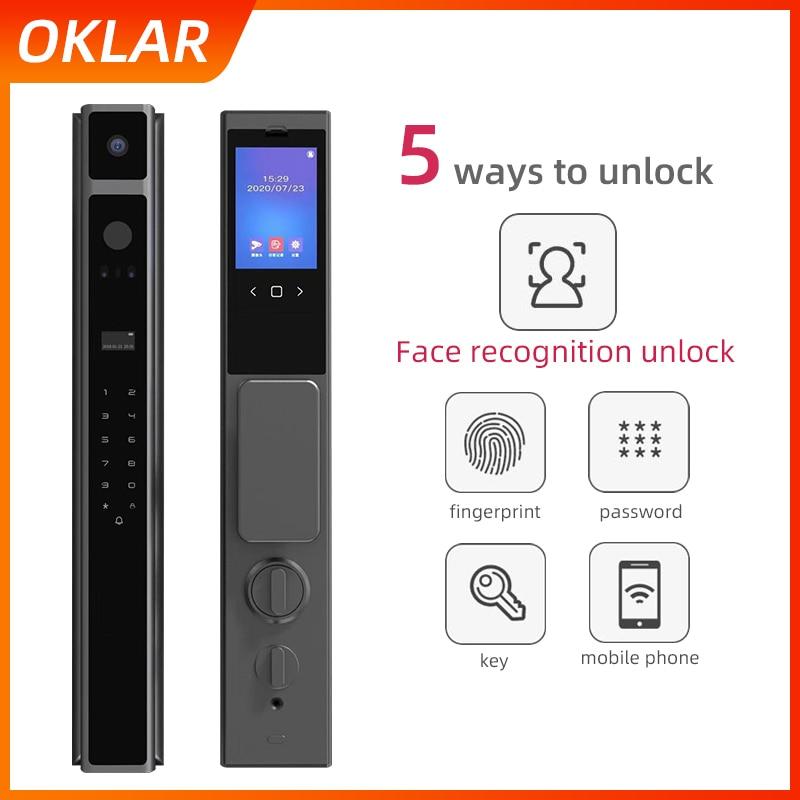 OKLAR Смарт дистанционные Цифровые дверные звонки, биометрический идентифицирующий замок с отпечатками пальцев замок уход за кожей лица Блок...