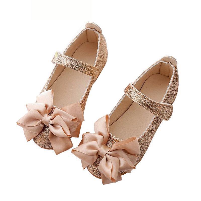 ¡Novedad de primavera 2019! Zapatos de cuero para niñas, zapatos de moda de princesa con lentejuelas y lazo, zapatos de vestir para niñas, zapatos de fiesta escolar para boda