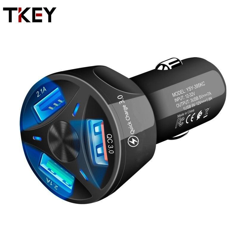 TKEY автомобильное зарядное устройство USB быстрая зарядка 3,0 4,0 Универсальный 18 Вт Быстрая зарядка 3 порта мобильный телефон адаптер для samsung s10...