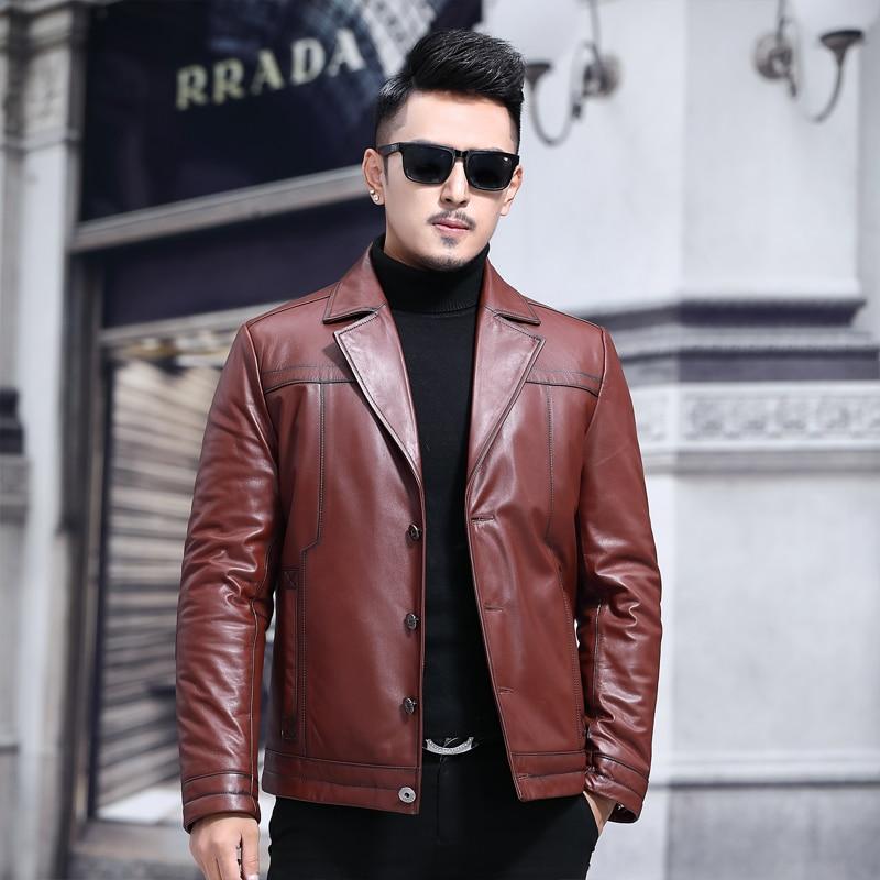 Leather Genuine Jacket Men Real Cow Leather Winter Coat Mink Collar Men Leather Jacket Wool Liner Fox Fur
