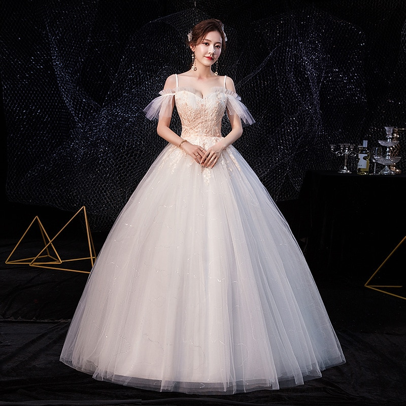 2020 New Vestido De Noiva Sexy Spaghetti Straps Lace Appliques Simple Wedding Dress Plus Size Slim Lace Up Bride Gown L