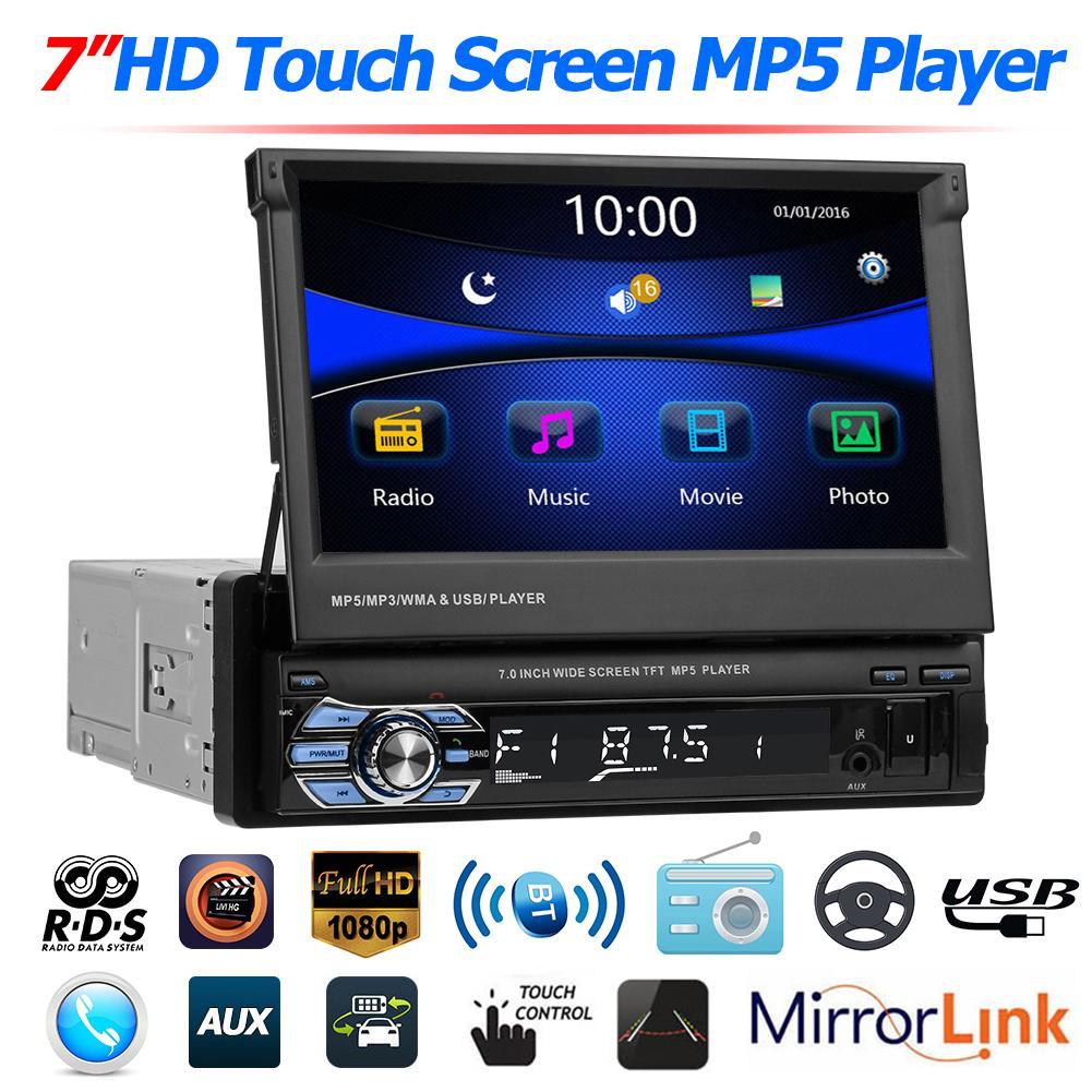 SWM 9602 7 بوصة قابلة للطي شاشة تعمل باللمس سيارة ستيريو الوسائط المتعددة مشغل فيديو RDS AM FM راديو BT4.0 USB TF AUX رئيس وحدة