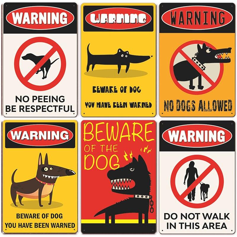 Cão de aviso do vintage metal estanho sinais cartaz cuidado do cão lata placa pintura para a família barra aqui eu assistir placa cão decoração