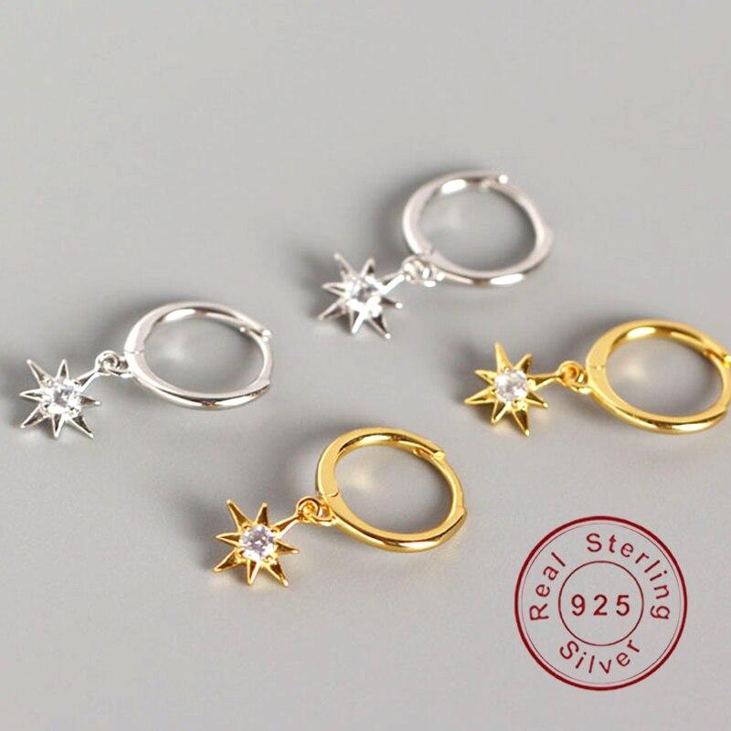 Minimalist anise star silver 925 sterling silver ear clip Elegant Women Piercing Jewelry  Birthday Simple Noble Jewelry Gift