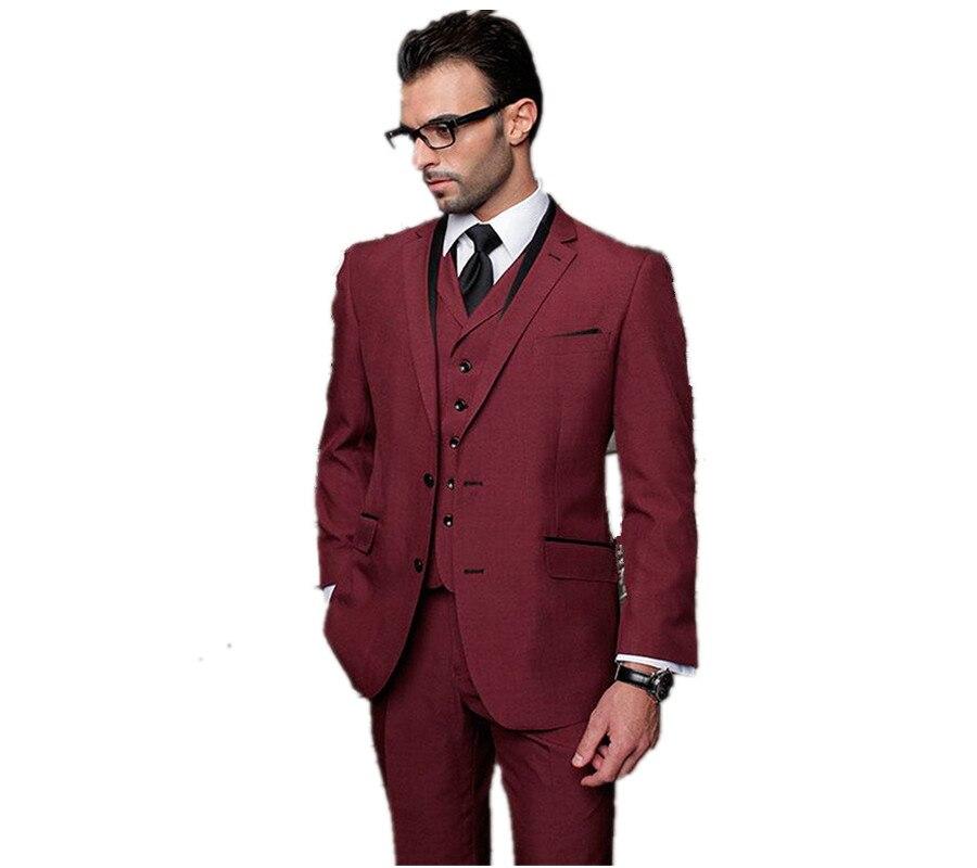 الرجال الدعاوى الأزياء سلم صالح الدعاوى الزفاف العريس البدلات الرسمية عنابي أفضل رجل الدعاوى 3 قطعة مجموعة سترة + السراويل + سترة مخصص هومبر