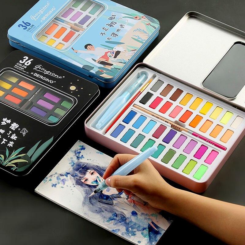 Bgln מוצק צבע בצבעי מים סט 36 צבע ילדי למתחילים יד-צבוע מים צבע ציור מוצק אספקת אמנות