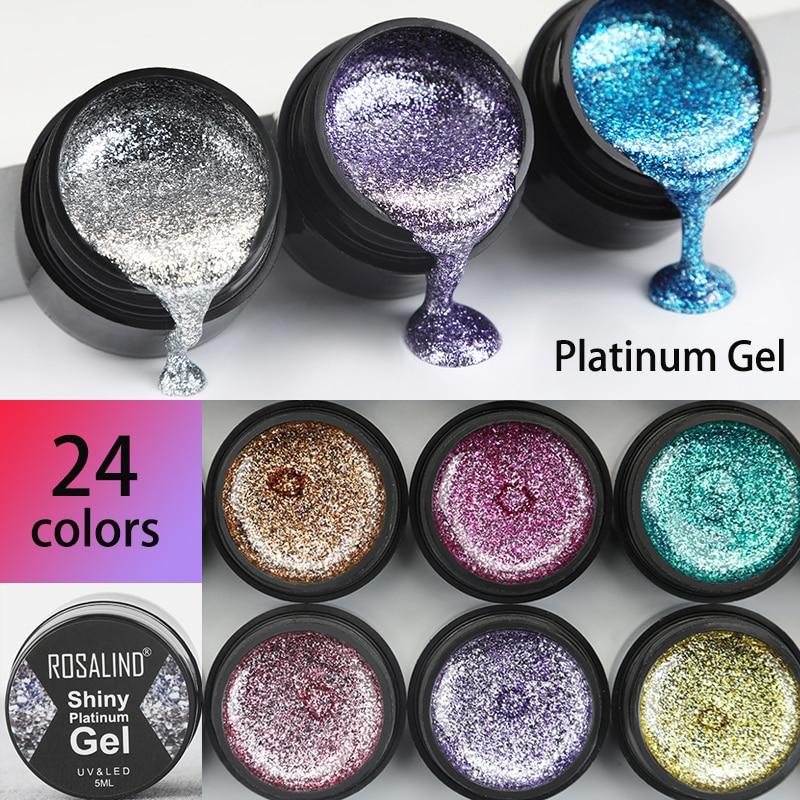 ROSALIND Gel Nail Polish Glitter Paint Hybrid Varnishes Shiny Top Base Coat For Nails Set Semi Perma