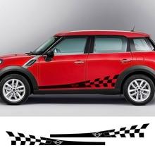 Puerta de coche falda lateral calcomanías cuerpo Checker StickerFor MINI Cooper S JCW countyman Clubman F54 F55 F56 F60 R60 R61 accesorios para coche