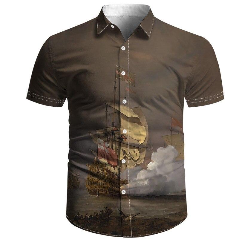 Модная Гавайская Мужская рубашка, черно-белая рубашка с 3D-принтом, тонкая окрашенная ткань, Повседневная пляжная рубашка в стиле хип-хоп