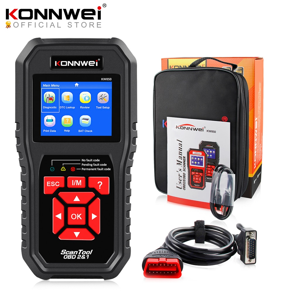 KONNWEI KW850 OBD2 سيارة التشخيص ماسحة أدوات OBD 2 السيارات تشخيص أداة فحص المحرك السيارات سيارة ماسحة رمز قارئ الأسود