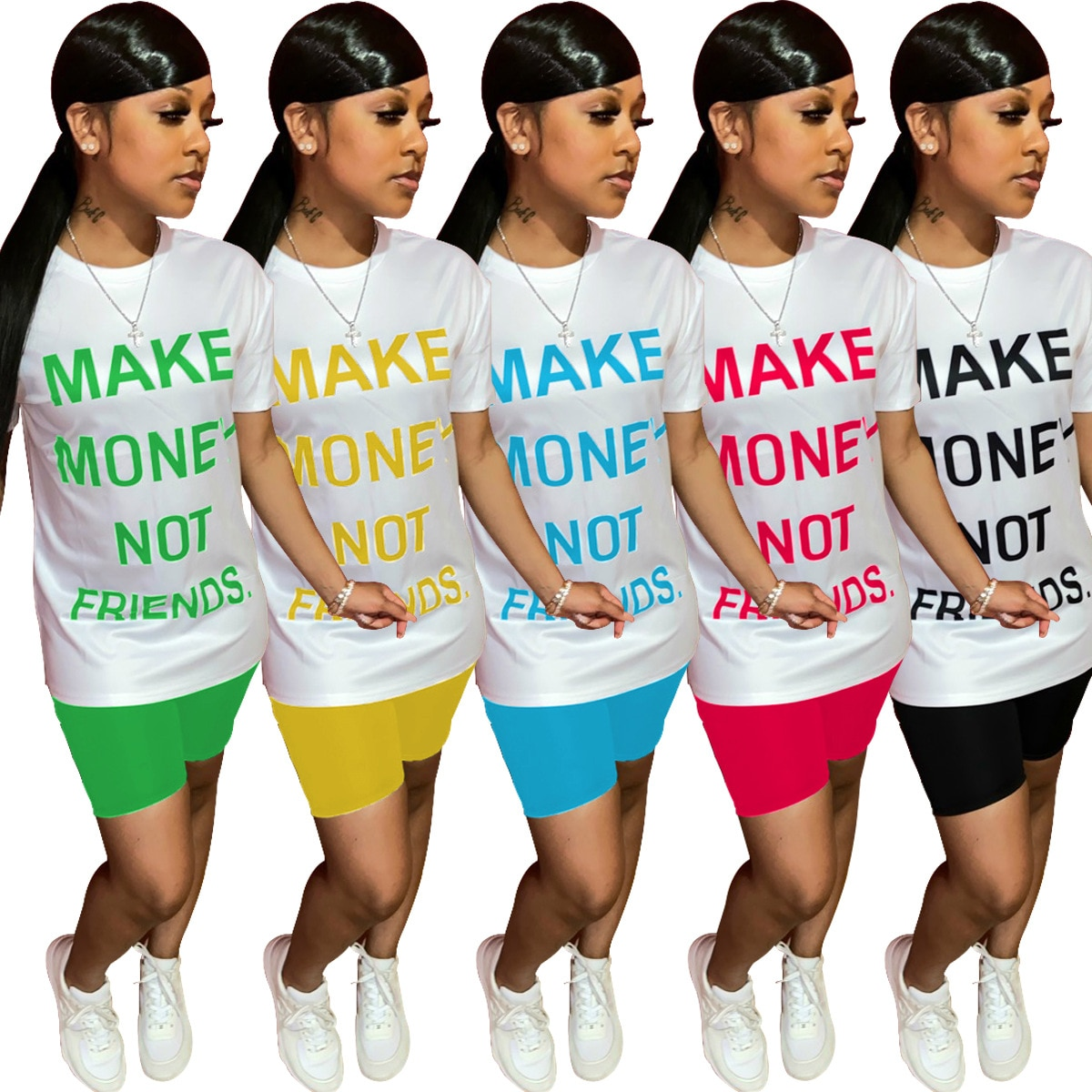 Summer 2021 New Women Casual Two Piece Set Funny Letter Make Money Not Friends T Shirt And Shorts Tracksuits Outfits