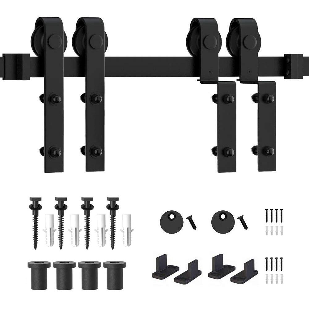 6.6FT Gifsin Bypass Sliding Barn Door Hardware Track Bent Hanger System