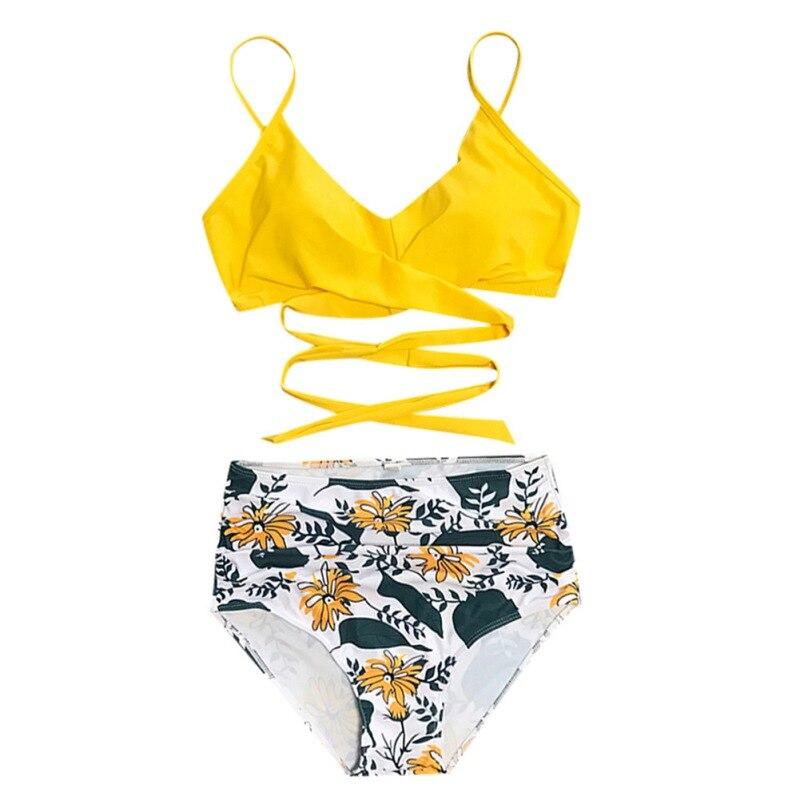 2 12 years children girls swimsuit two pieces bikini set polka dot swimwear bathing suits 2019 new summer bathing suit Fashion Strappy Bikini Suit Mid-Waist Bikini Sets Summer Swimsuit Women Lace Up Two Pieces Swimwear Beach Bathing Suits