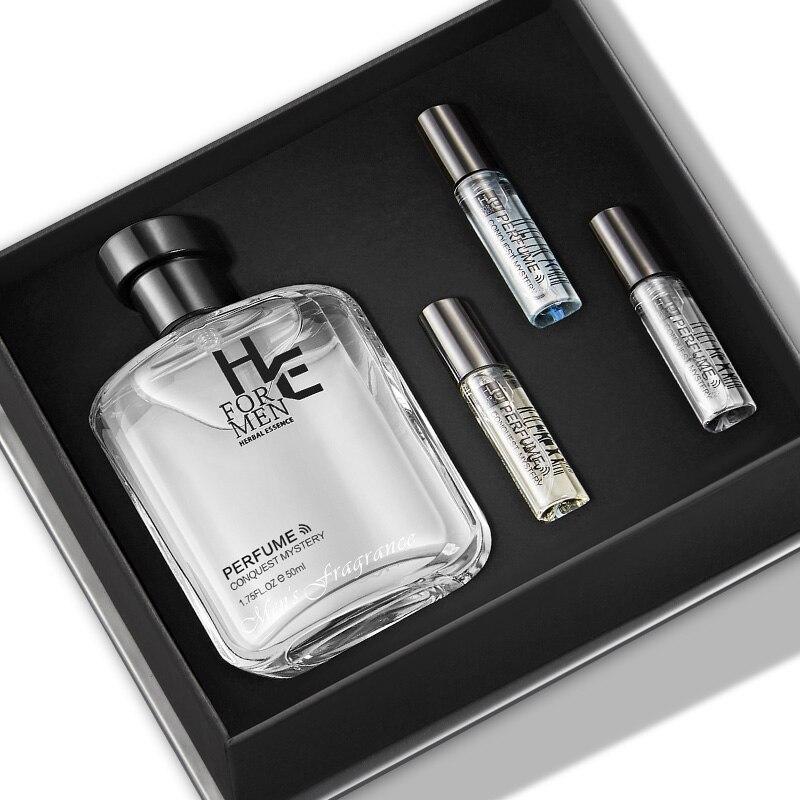 (H&E) Mens Fashion Perfume Gift Box Lasting Essence Eau De Toilette 50ML To Send Three Samples (Gulong Perfume Natural Fresh)