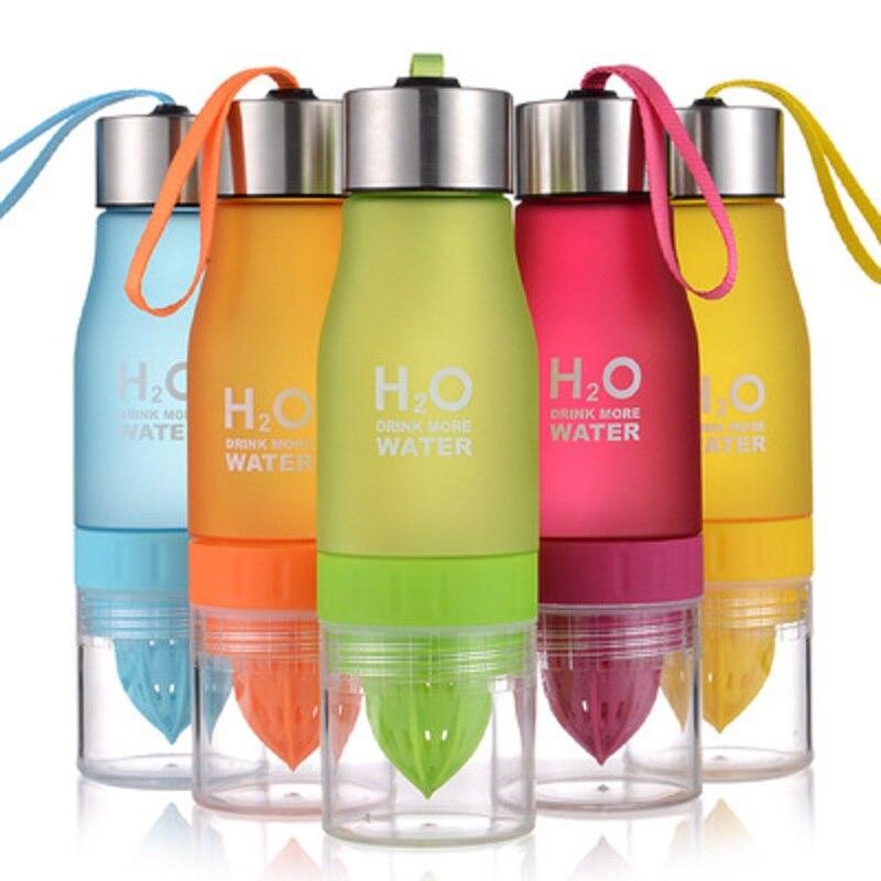 K-STAR Plastic Water Bottle 650ml Lemon Juice Sport Drinking Water Bottles Creative Fruit Infuser Water Bottle Portable