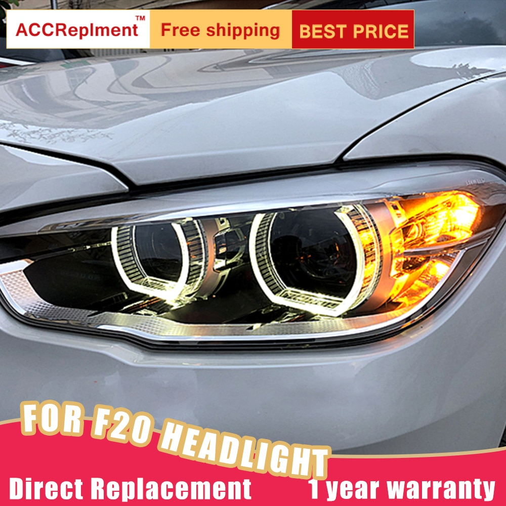 2Pcs LED Headlights For BMW 1 Series F20 2015-2018 led car lights Angel eyes xenon HID KIT Fog lights LED Daytime Running Lights