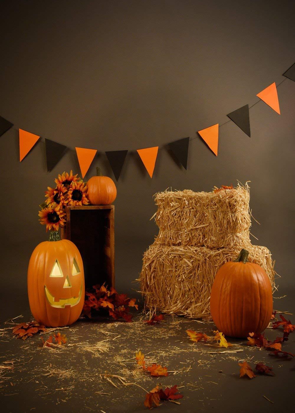 Lyavshi Seamless photo backdrops Halloween pumpkin pure color portrait countryside background computer printing fantasy props enlarge