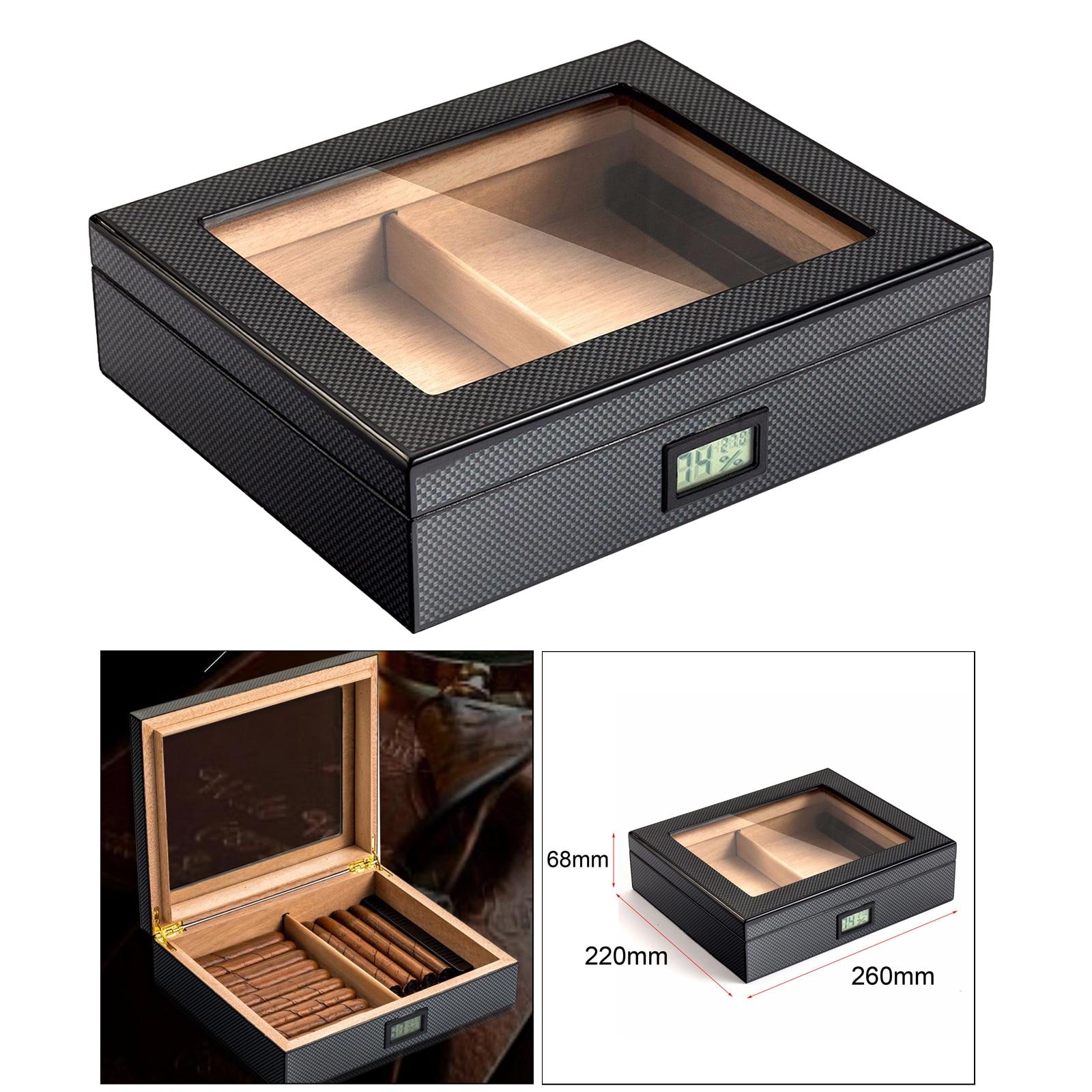 Portable Travel Cedar Cigar Case, Cigar Humidor with Hygrometer and Humidifier for Club Desktop Cigar Case Accessories