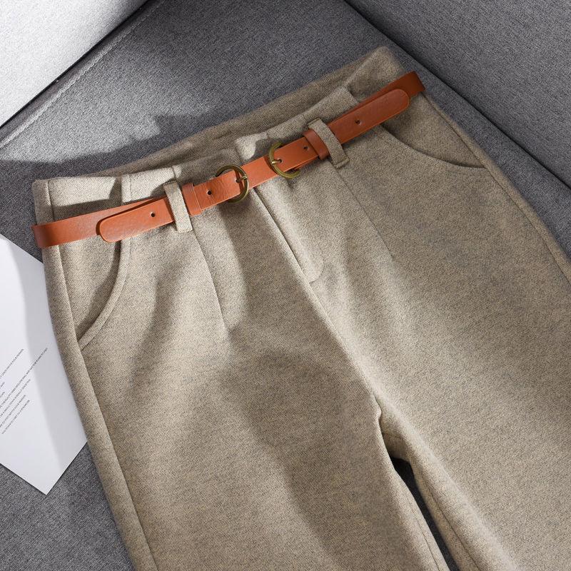 السراويل الصوفية المرأة الحريم سروال شكل قلم رصاص 2021 الخريف الشتاء عالية الخصر رداء غير رسمية السراويل مكتب سيدة النساء بنطلون X815