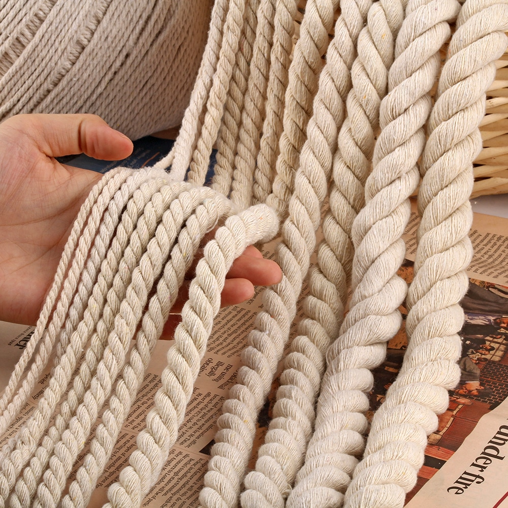 5/10M 6MM/8MM/10MM/12MM 3 Shares Twisted 100% Cotton Cords Twisted Cotton Rope for Bag Home Decor DI