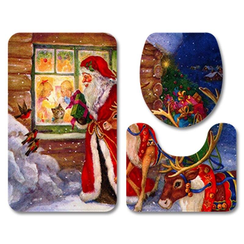 Fashion Xmas Santa Claus Red Bathroom Carpet Set Flannel Home Decor Toilet Pad Cover Bath Mat Christmas Toilet Seat Cover Set