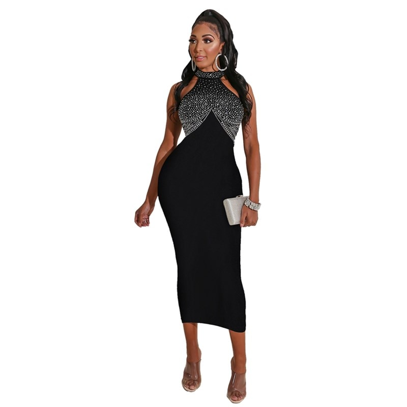 Women Diamond Pencil Dress Sexy Sleeveless Elegant Bodycon Party Dress Office Lady Luxury Nightclub Dresses Clothes