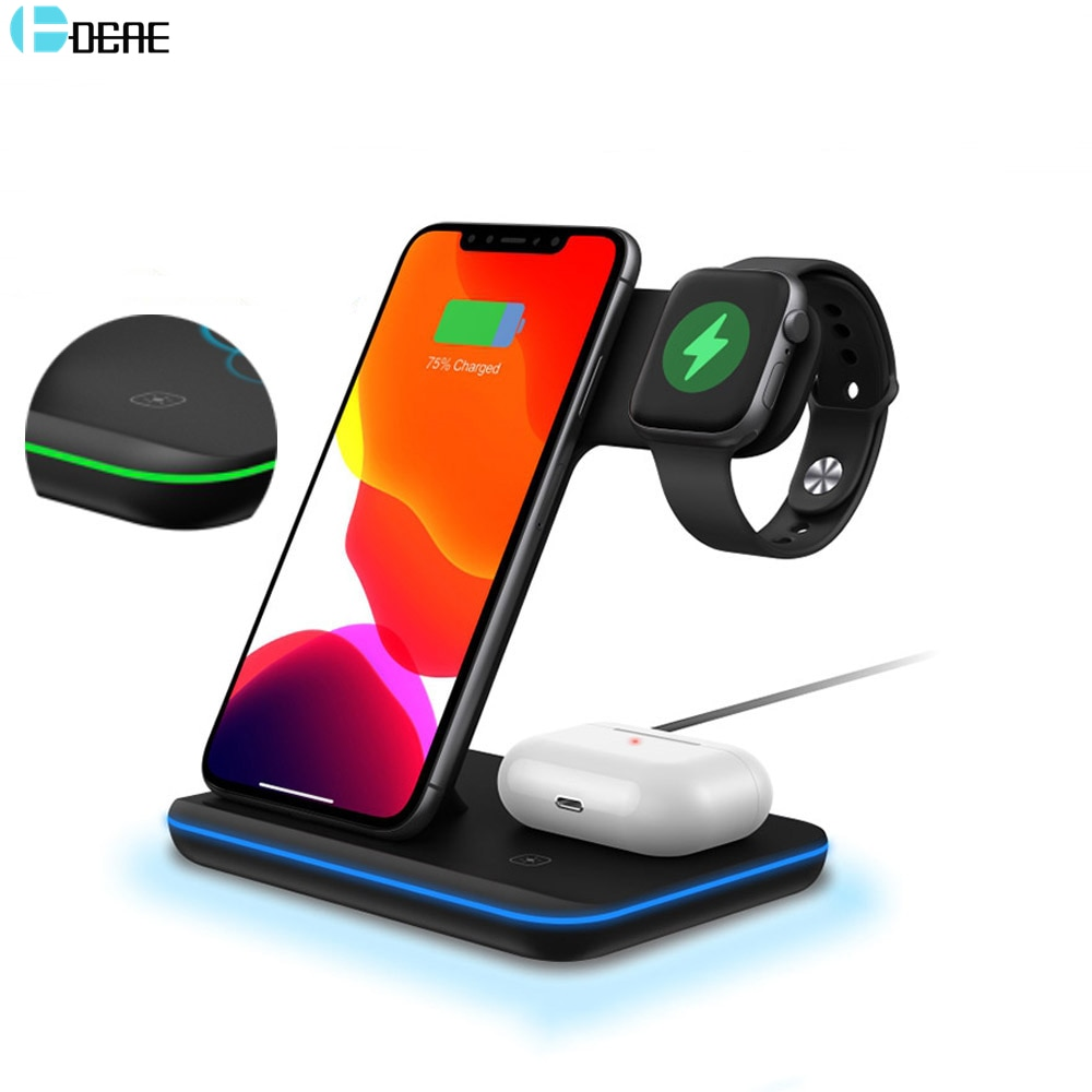 DCAE 15W 3 in 1 Qi Wireless Charger Stand for iPhone 12 11 XS X 8 AirPods Pro Charge Dock Station For Apple Watch iWatch 6 5 4 3