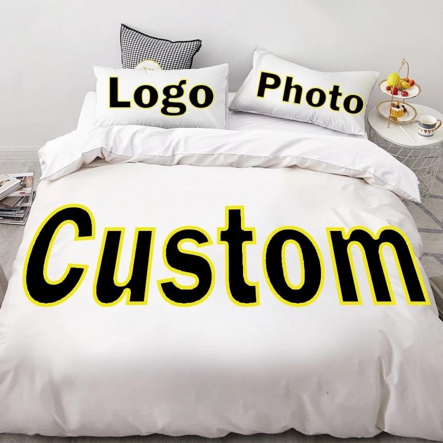 لتقوم بها بنفسك طقم سرير صورة شعار صورة حجم مخصص الملكة الملك حاف مجموعة غطاء المخدة أغطية مخصصة