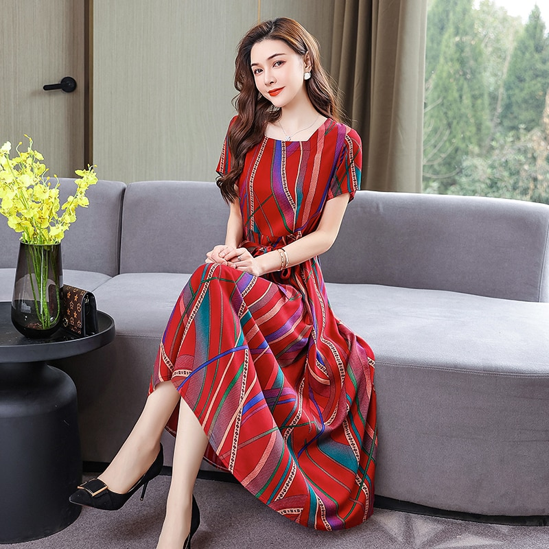 2021 الصيف زهرة طباعة قصيرة الأكمام الخصر فستان سبليت خمر فستان صيفي فساتين فضفاضة للنساء