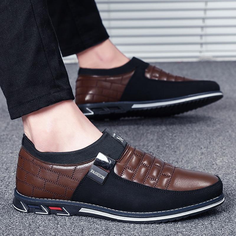 Zapatos informales Vastwave de piel auténtica para hombre, mocasines de gran tamaño para hombre, mocasines transpirables para invierno, zapatos negros para conducir