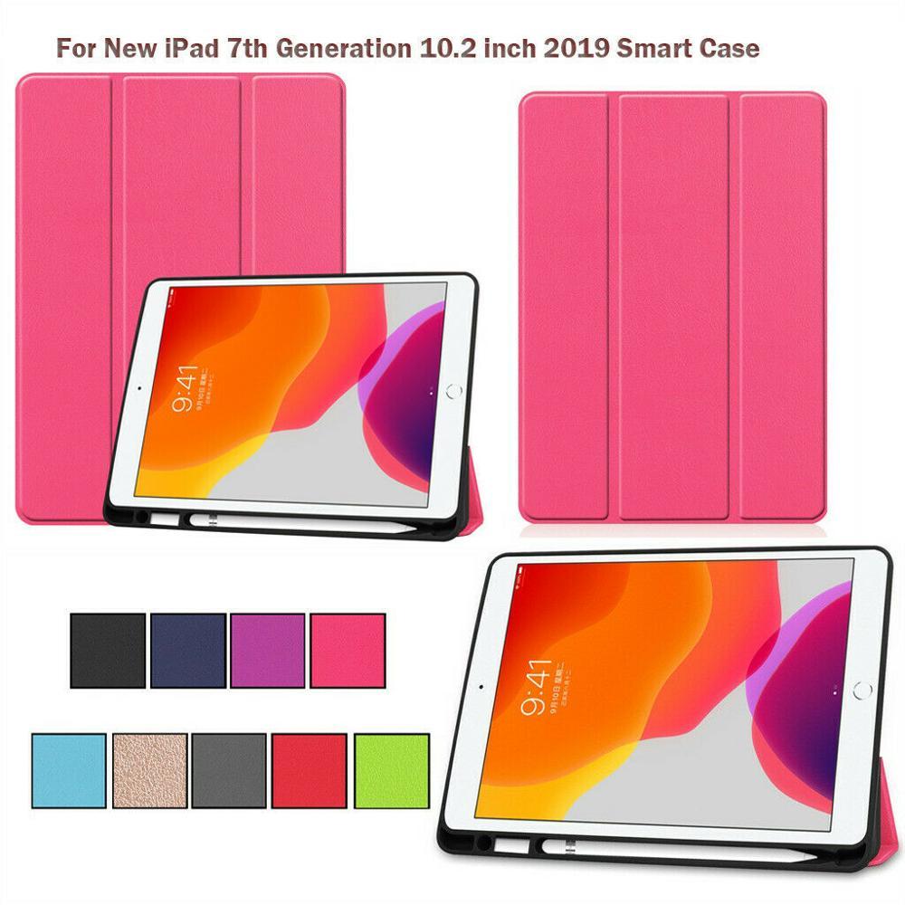 Para iPad 7, 10,2 pulgadas, 2019 PU, funda inteligente, carcasa delgada con tapa y soporte para bolígrafo A2200 A2198 a2232